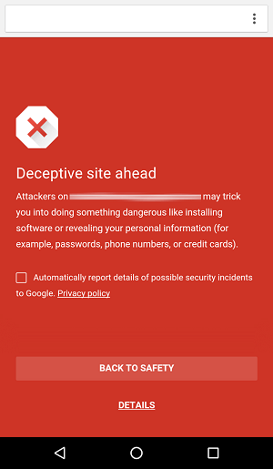 Safe Browsing в Google Chrome для Android